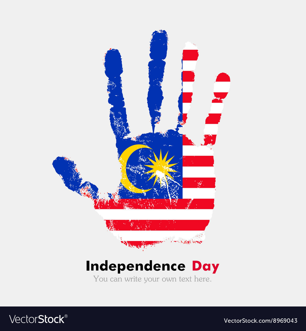 Handprint With The Flag Of Malaysia In Grunge