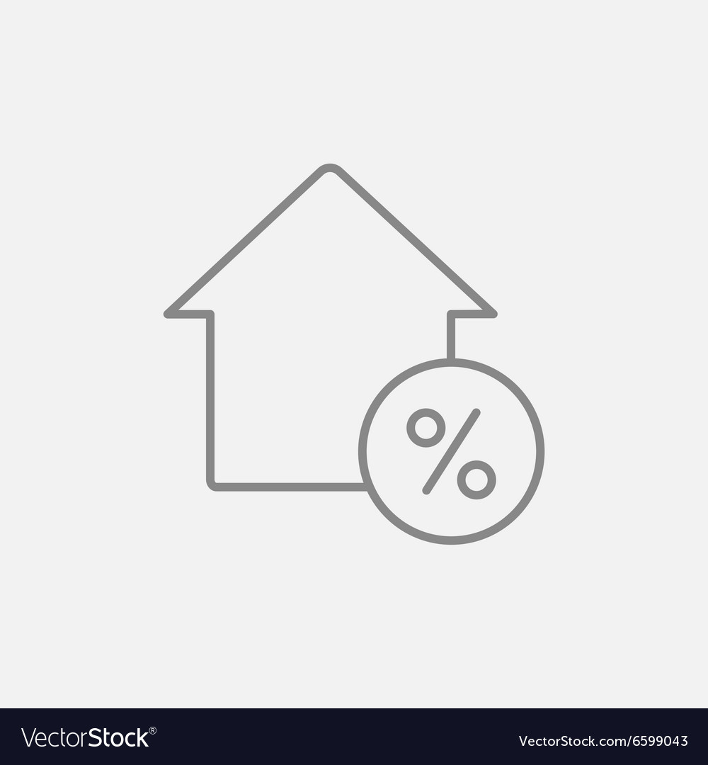 House with discount tag line icon