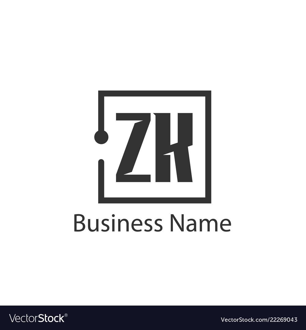 Initial letter zk logo template design