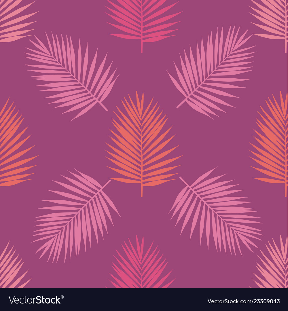 Living coral and purple tropical palm leaves