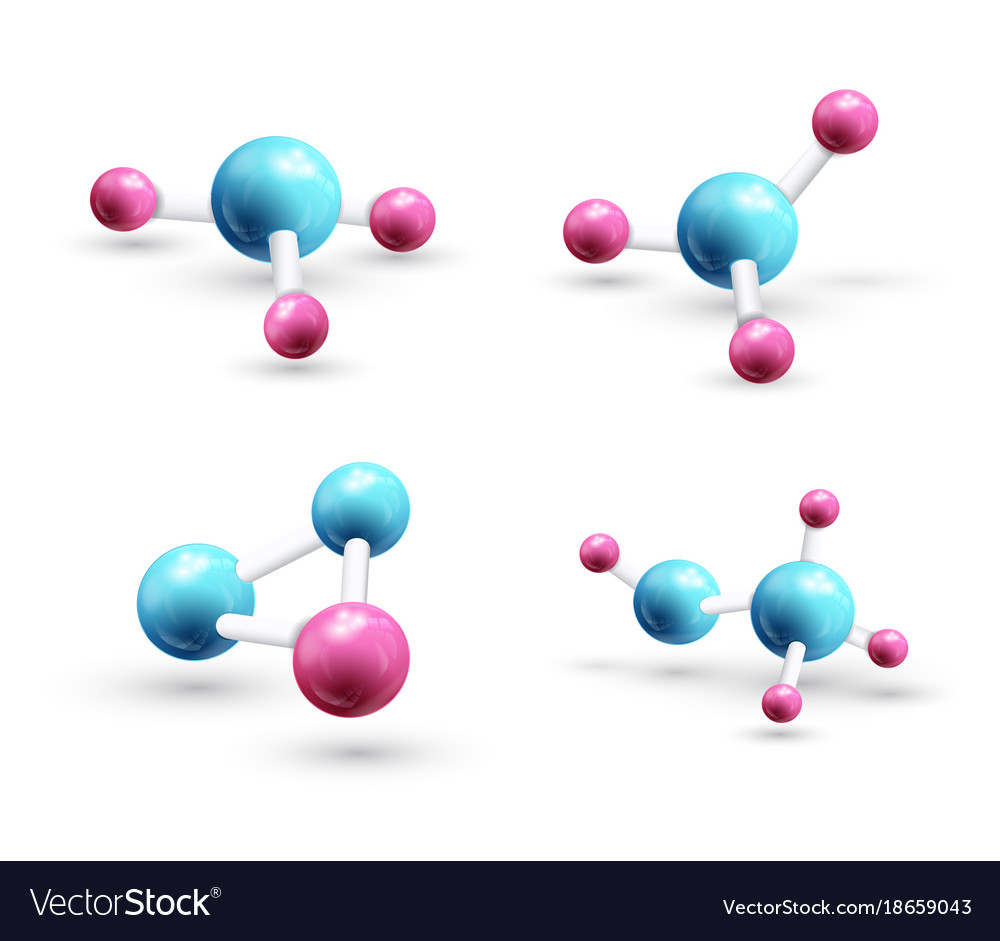Set of model of 3d molecule
