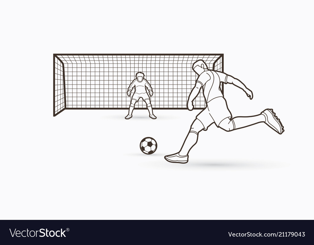 Soccer player kicking ball with goalkeeper