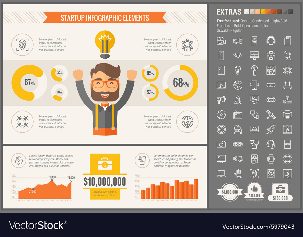 Start Up flat design Infographic Template vector image