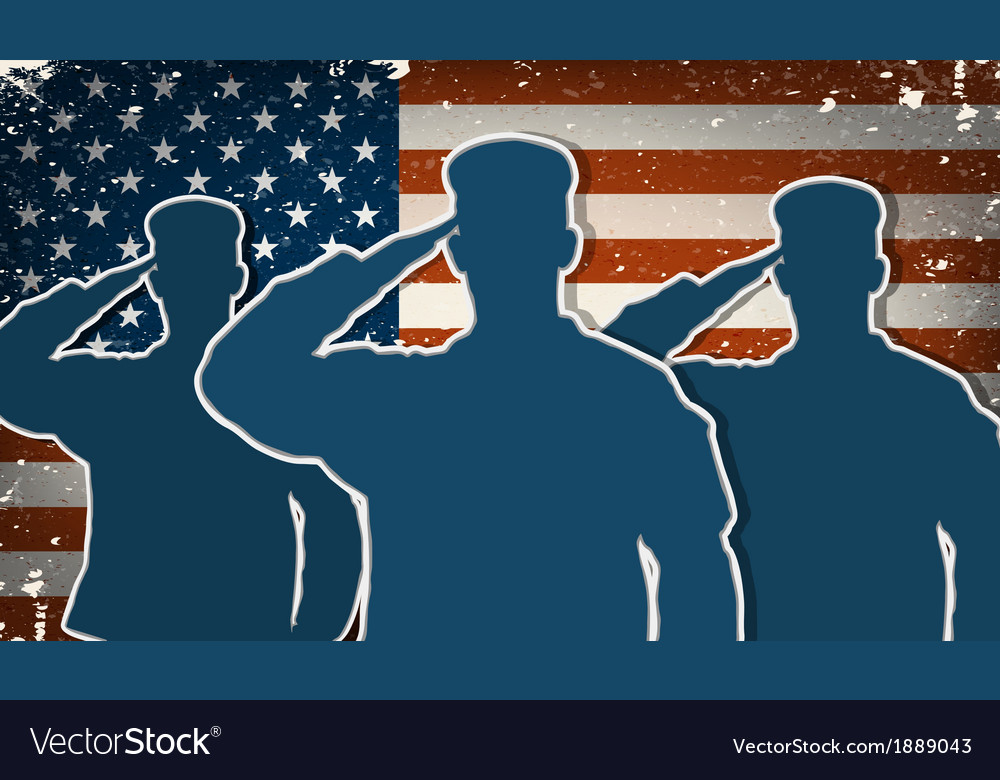 Three US Army soldiers saluting on grunge american
