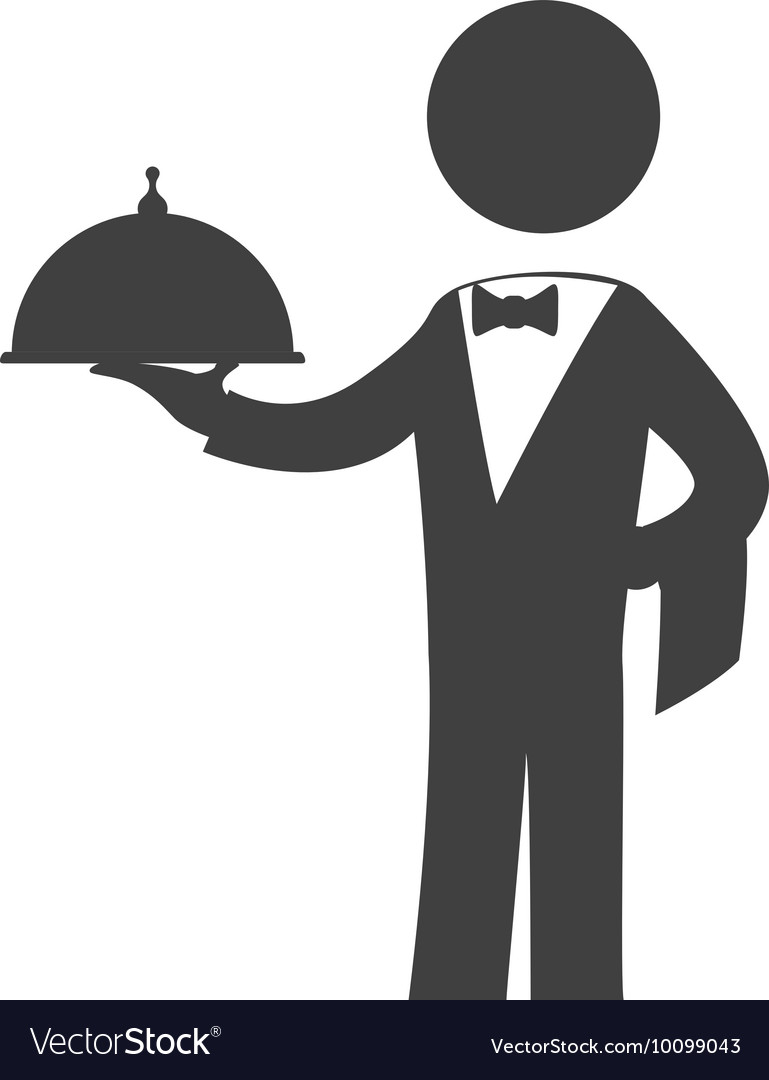 Waiter plate male pictogram suit person icon vector image
