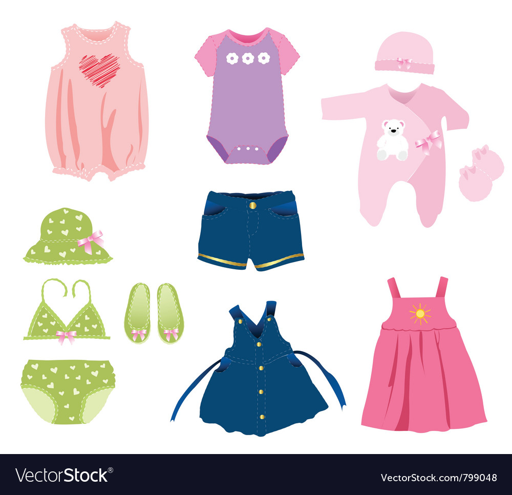 3f0ea7caa Baby girl elements clothes Royalty Free Vector Image