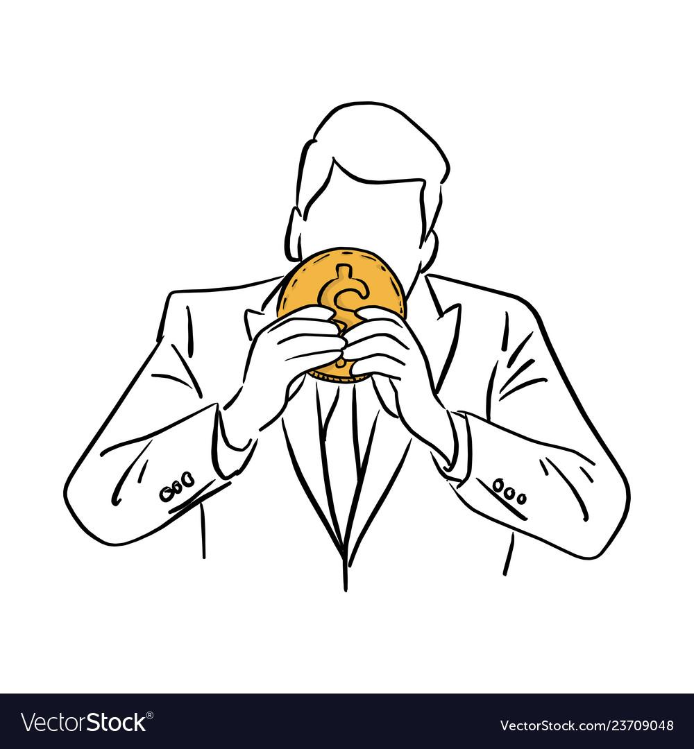 Businessman holding big golden coin