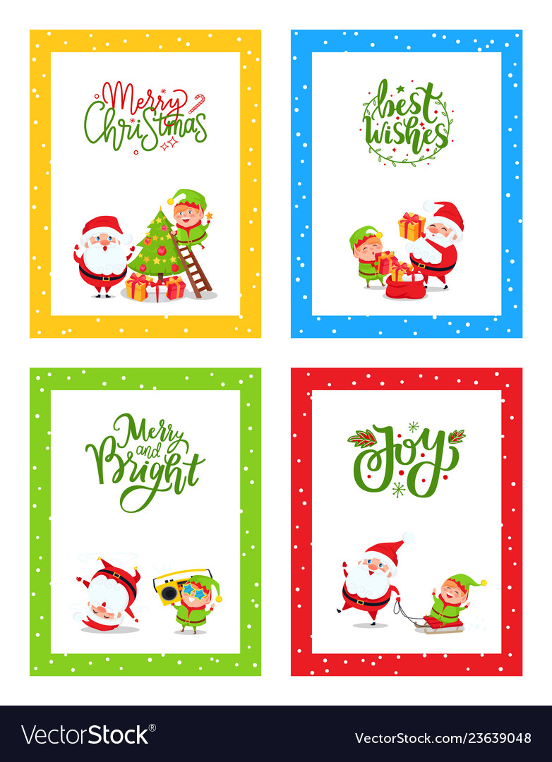 Christmas greeting cards cute decorated with santa