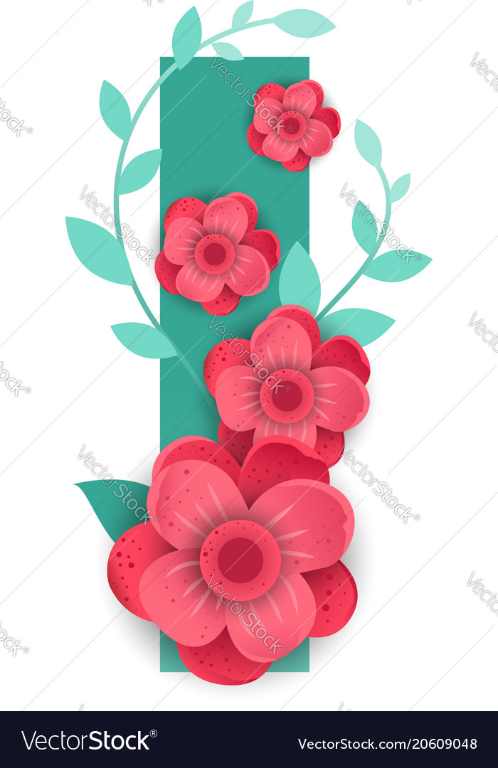 Color Letter I With Beautiful Flowers Royalty Free Vector