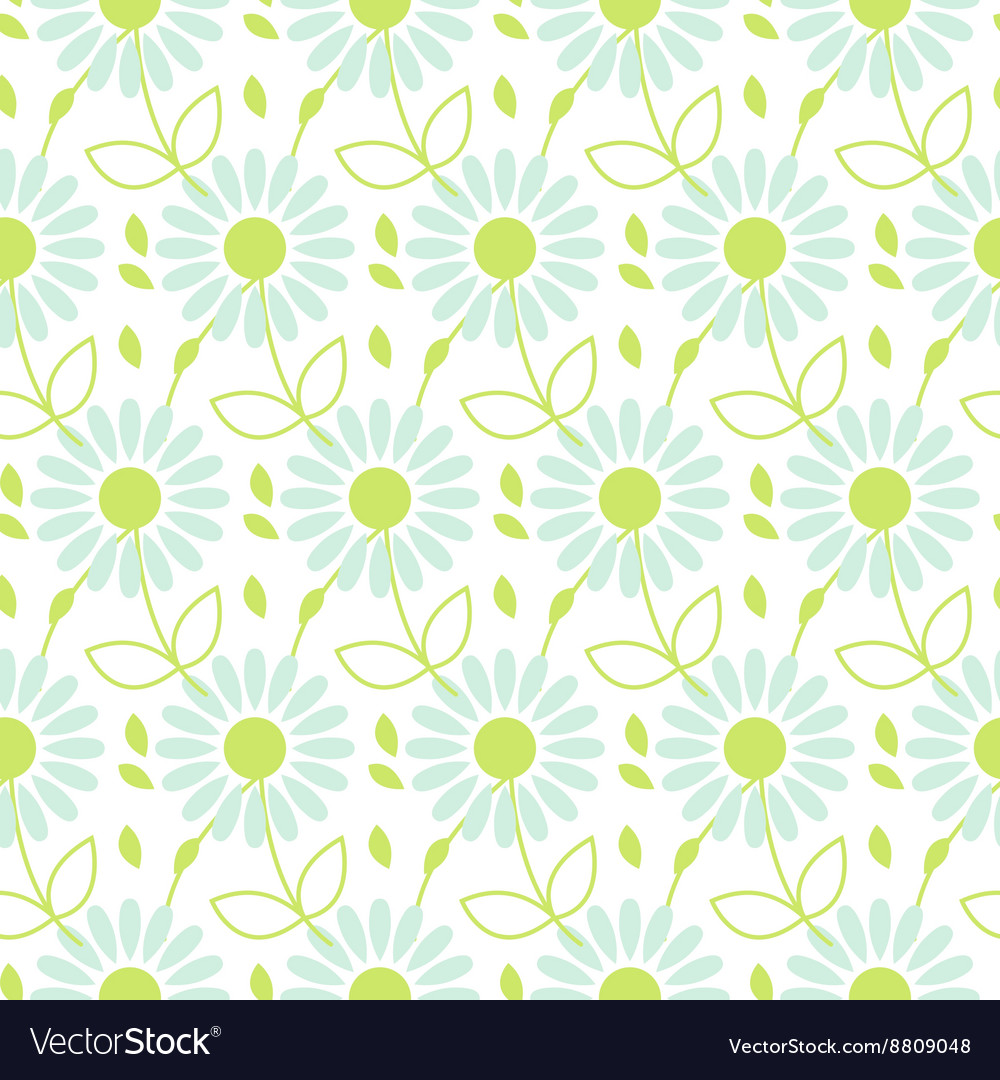 Daisy chamomile seamless pattern vector image