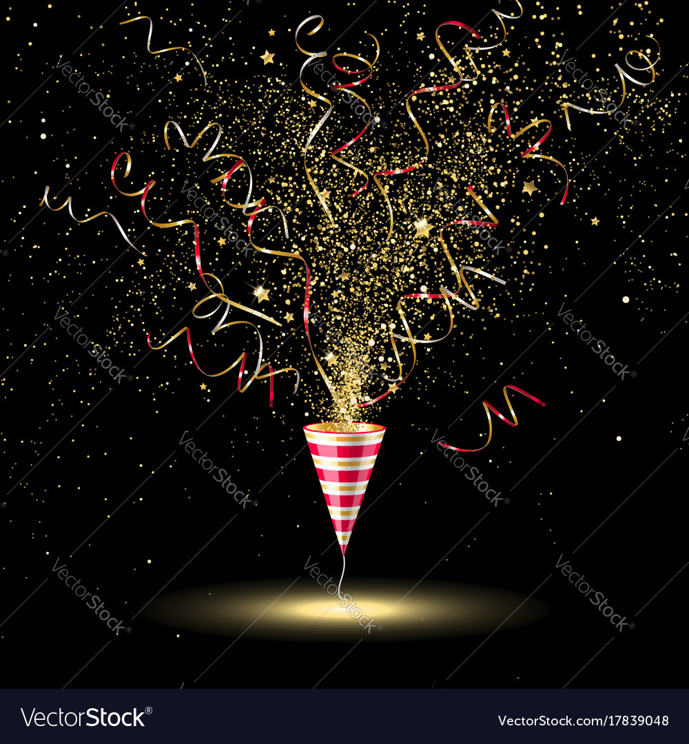 Festive party popper with gold confetti and