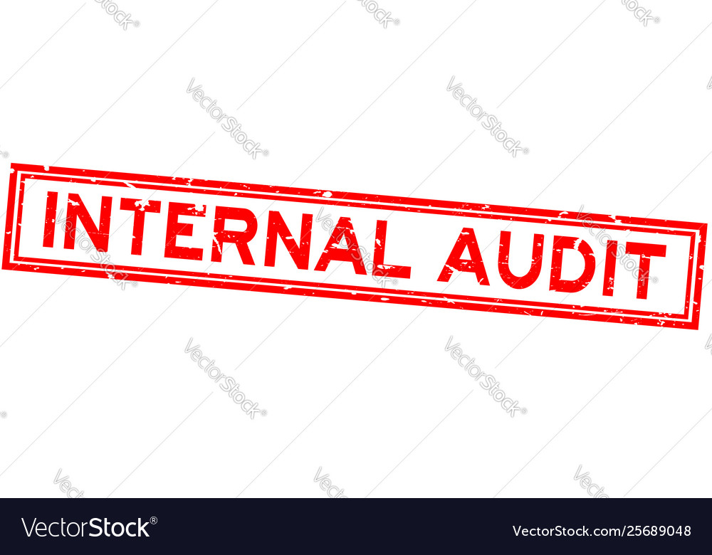 Grunge red internal audit word square rubber seal vector image