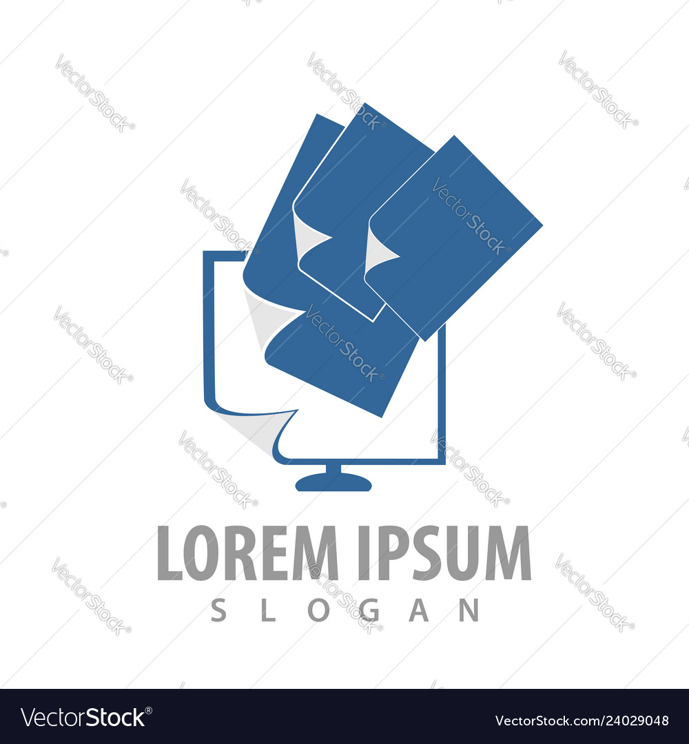 Logo concept design data paper monitor screen