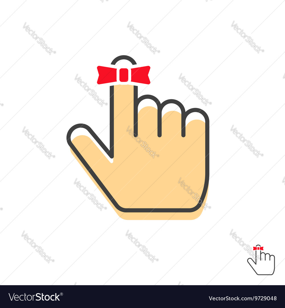 Reminder finger icon with red string bow