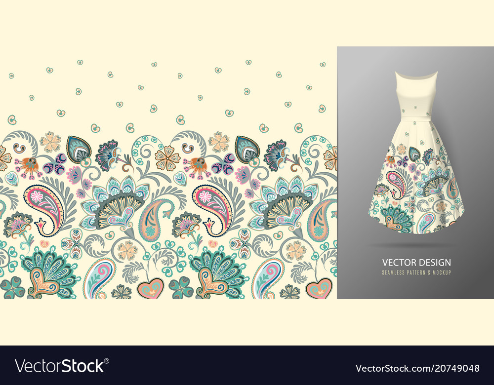 Seamless vertical fantasy flowers border pattern