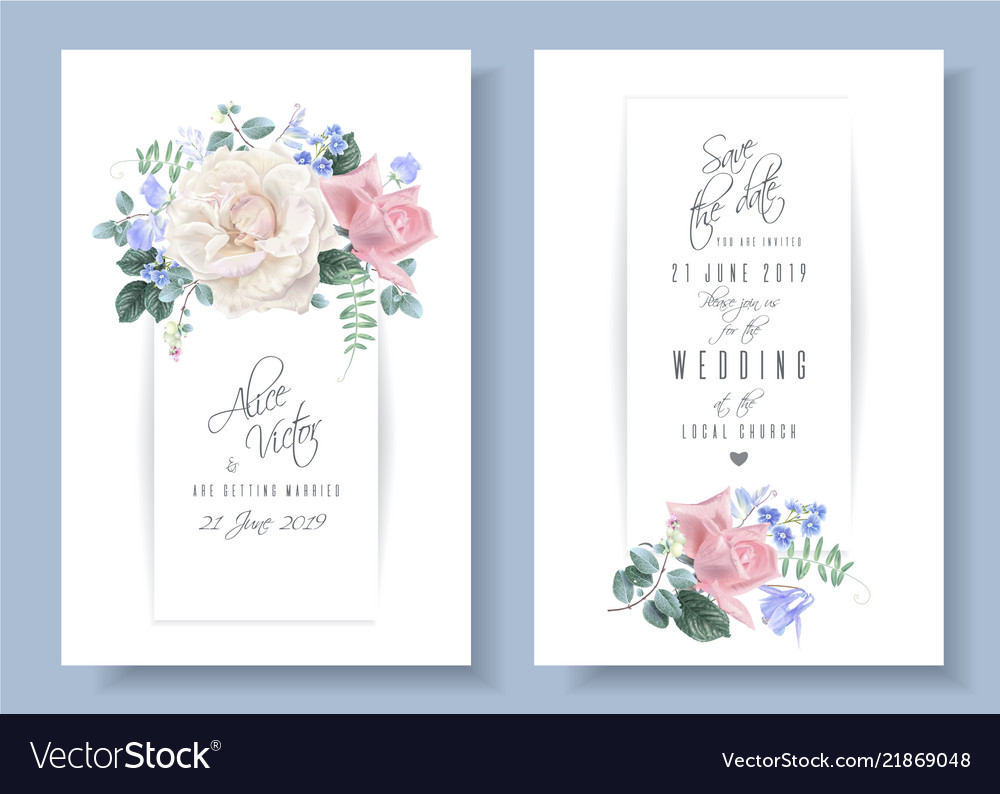 Vintage floral wedding cards with roses