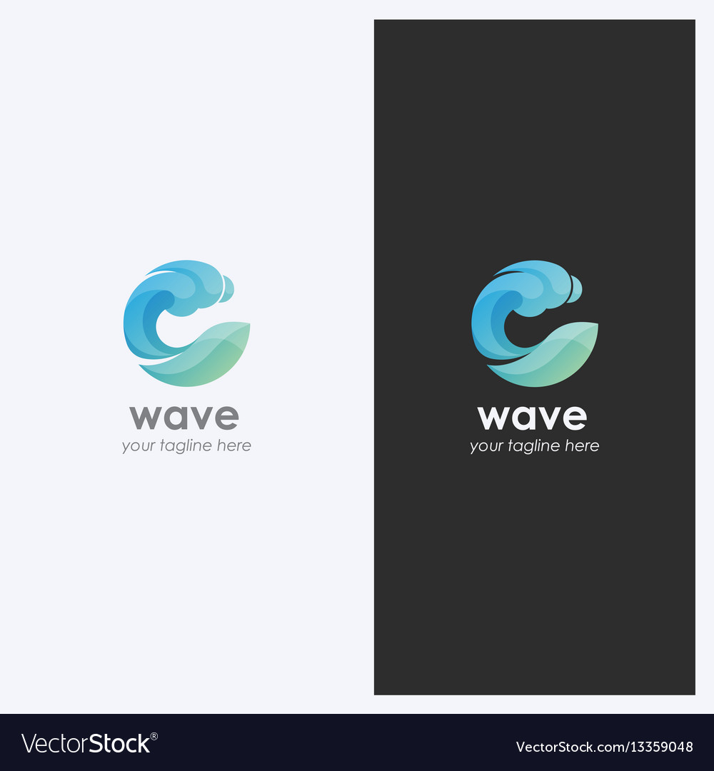 Water wave logo design template