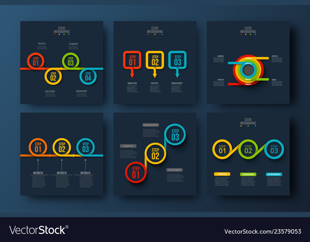 Abstract dark infographics number options template