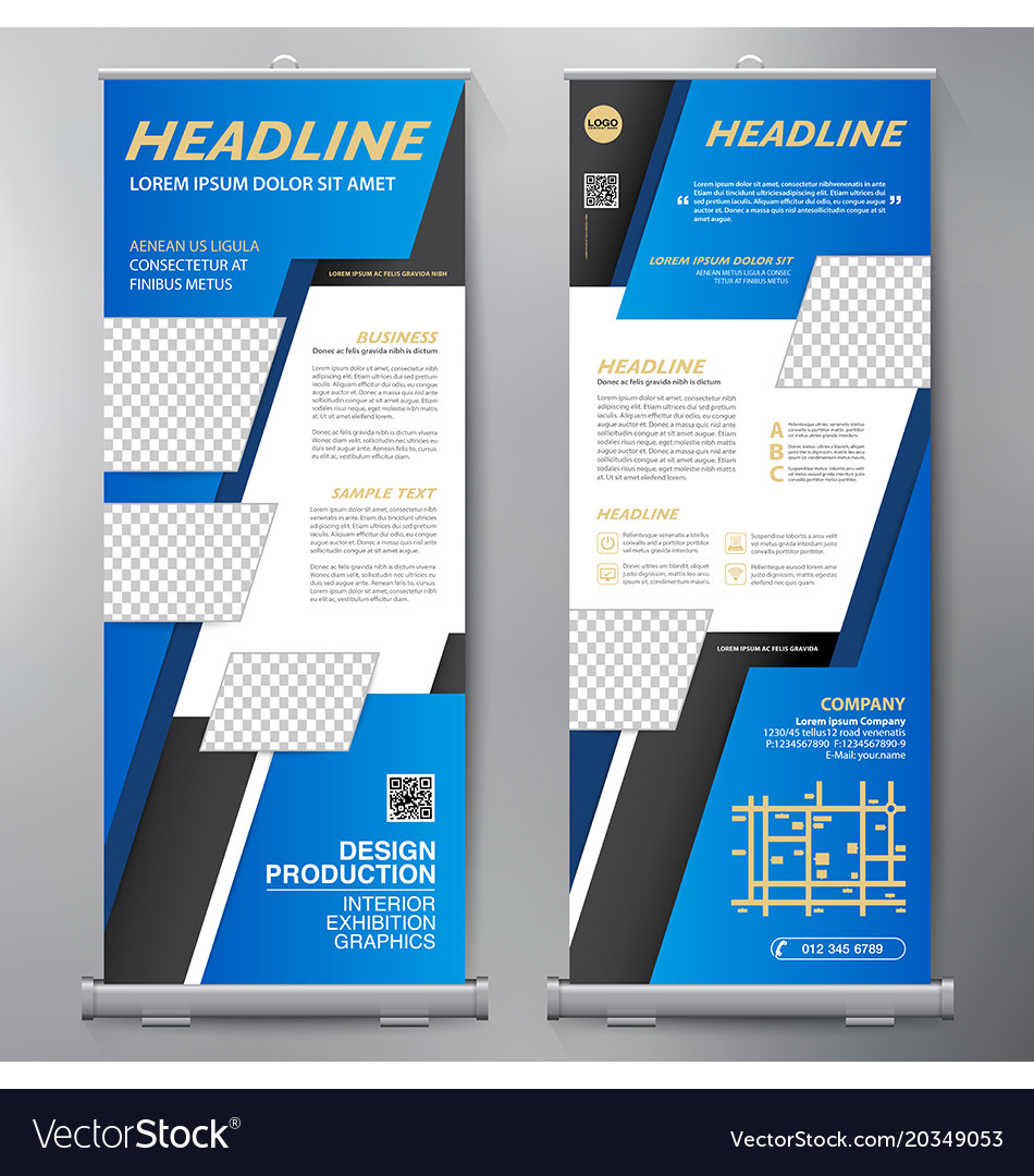 Business roll up standee design banner template vector image wajeb Image collections