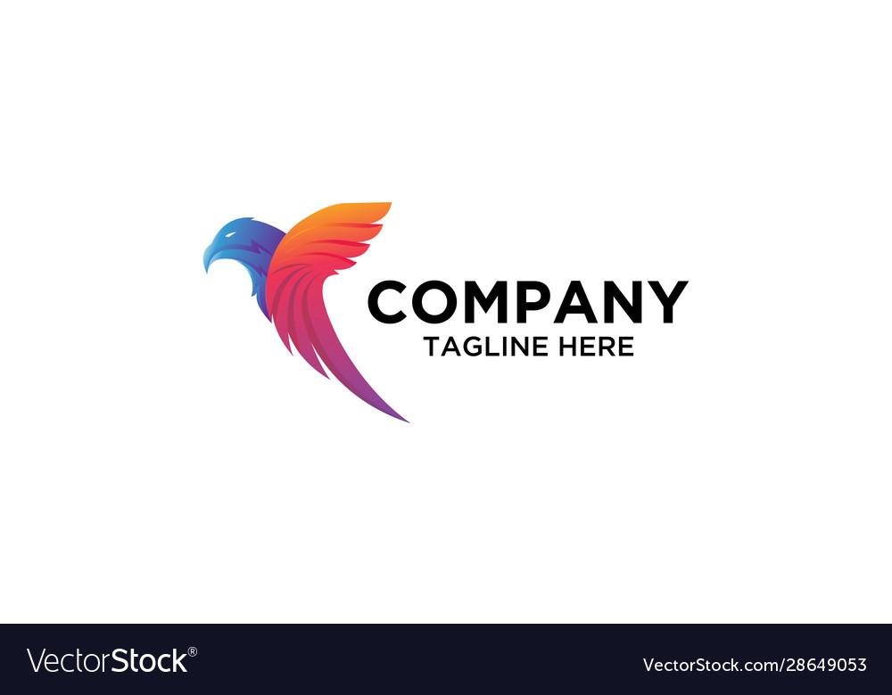 Colorful eagle bird logo vector image