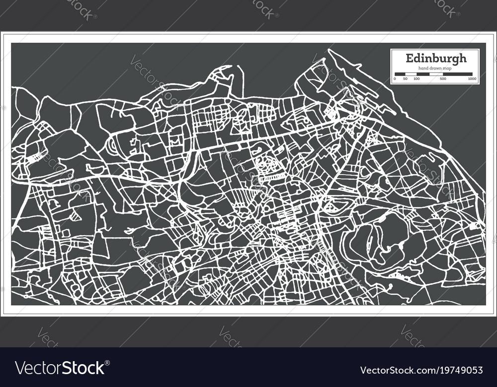 Edinburgh scotland city map in retro style
