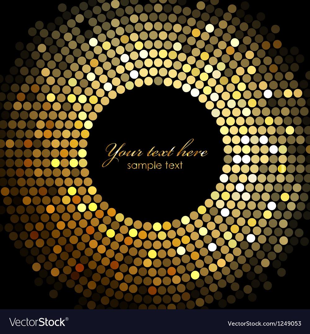 Gold disco lights frame vector image