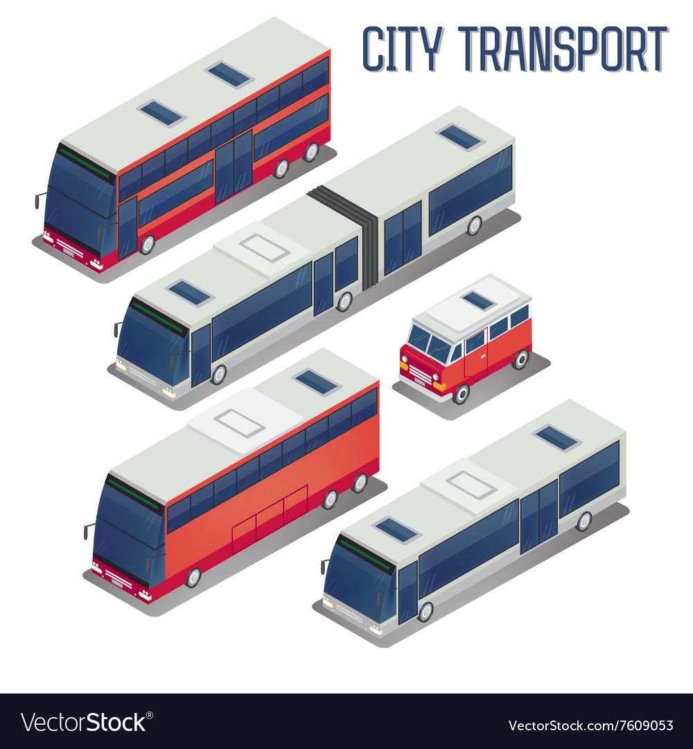 Isometric City Transportation Bus Set vector image