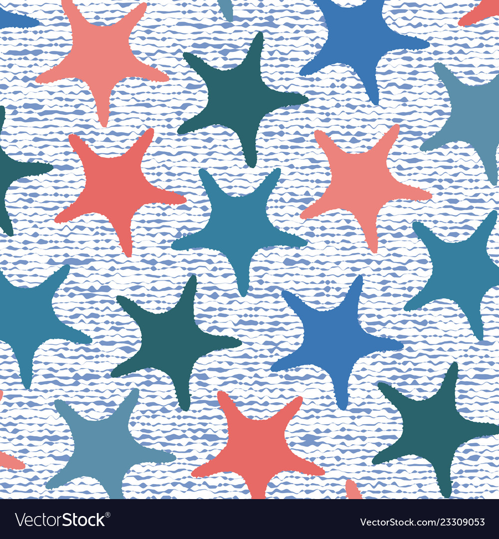 Living coral starfish pattern with stripes