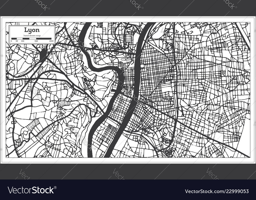 Lyon France City Map In Retro Style Outline Map Vector Image