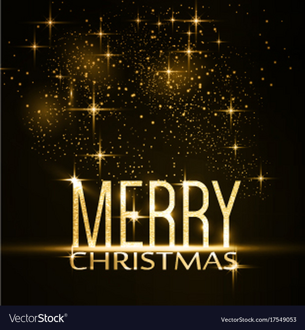 Merry christmas typography background with gold