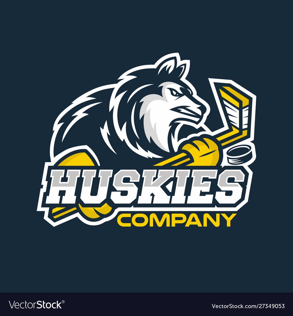 Modern husky mascot logo hockey team