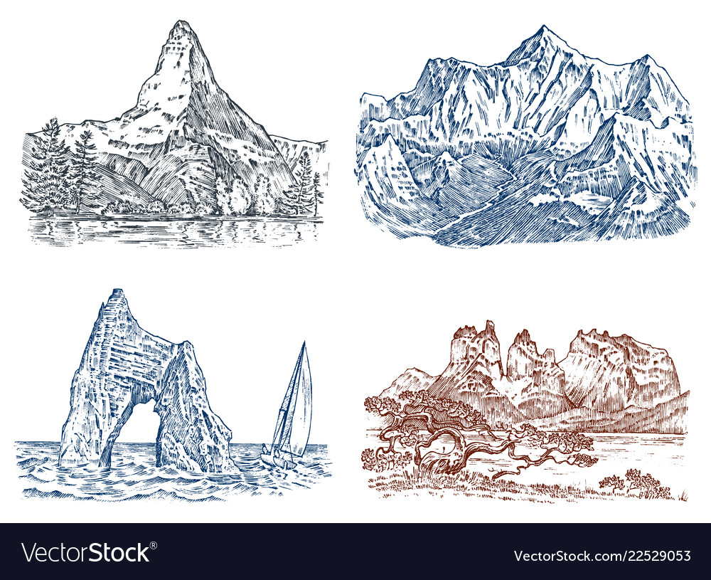 Mountains peaks vintage everest and matterhorn