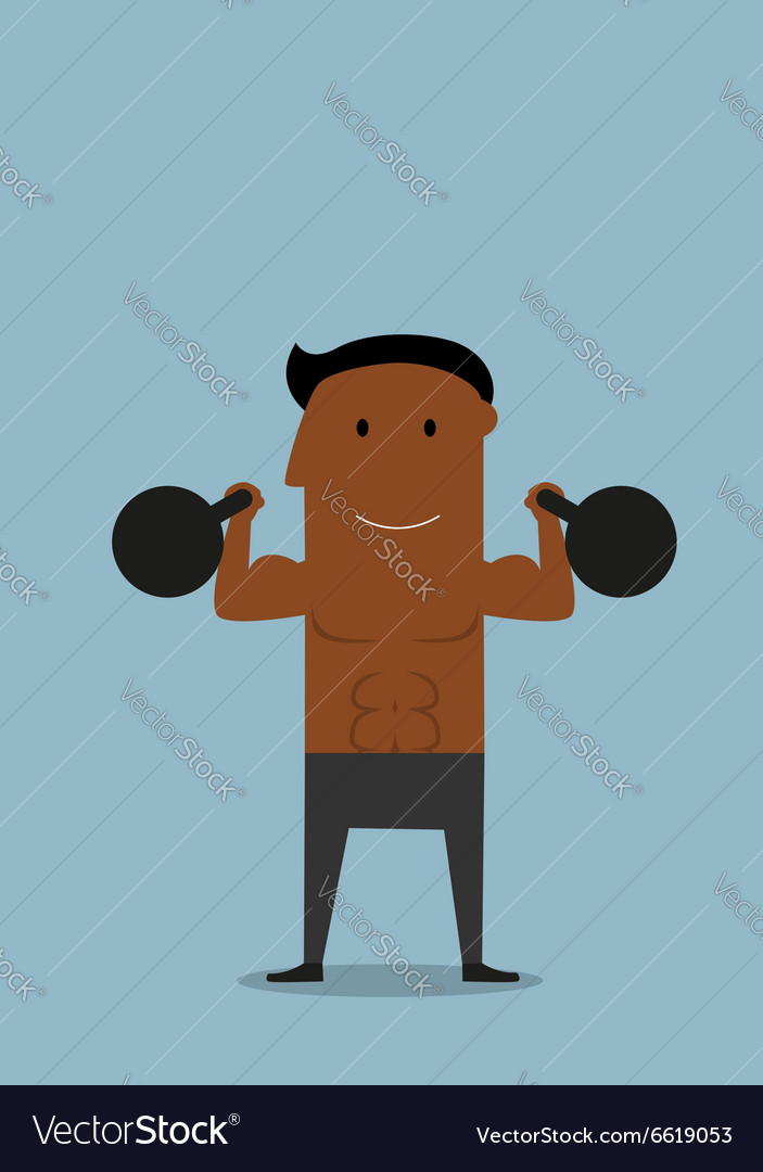 Powerful athlete doing exercises with kettlebells