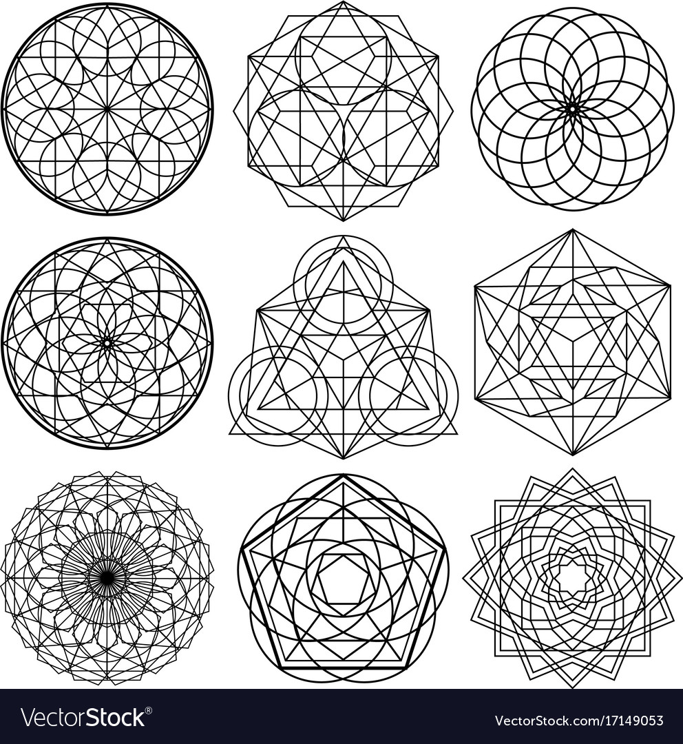 sacred geometry symbols set 02 royalty free vector image