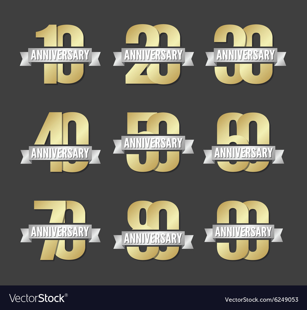 Set of anniversary golden signs