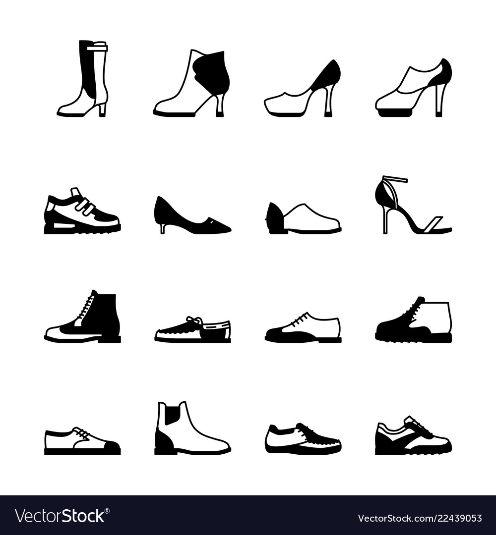 e372c8a96050 Shoes silhouette set Royalty Free Vector Image