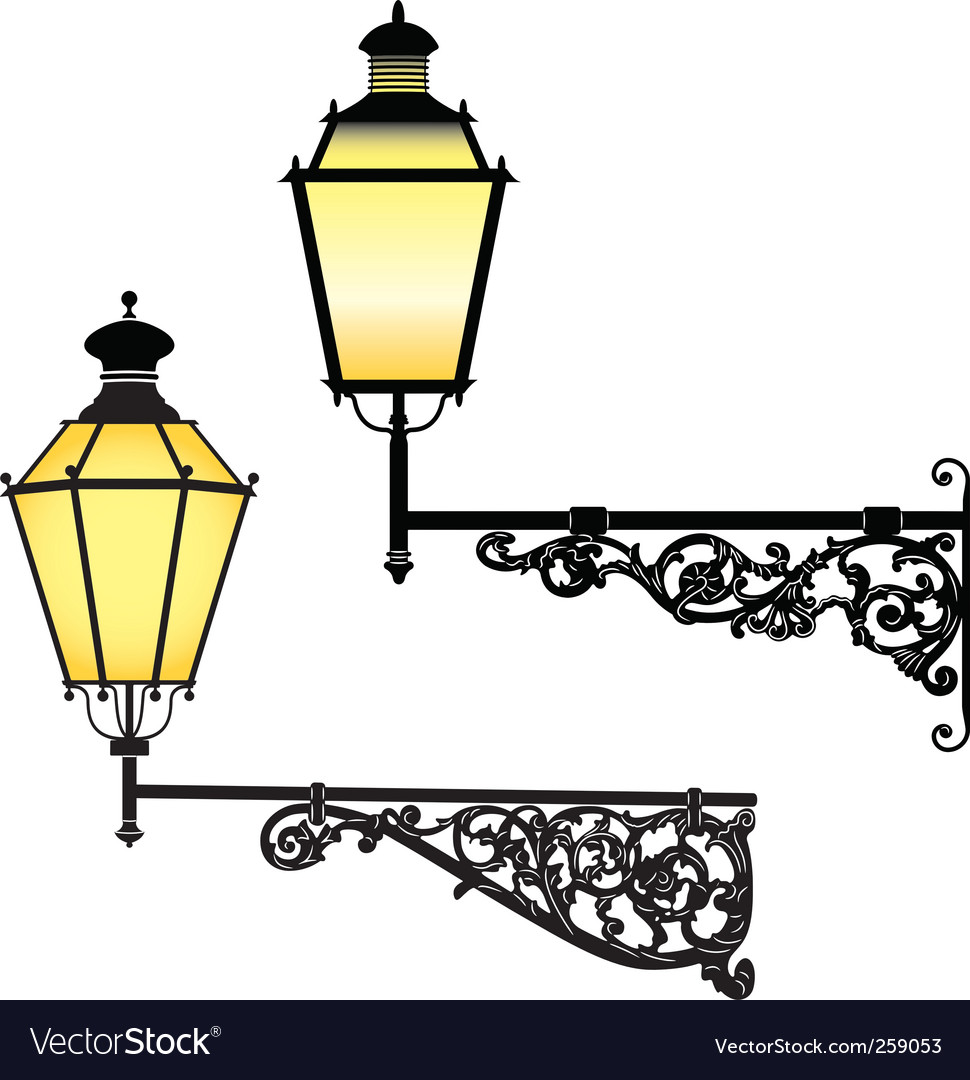 Wall street lamps vector image