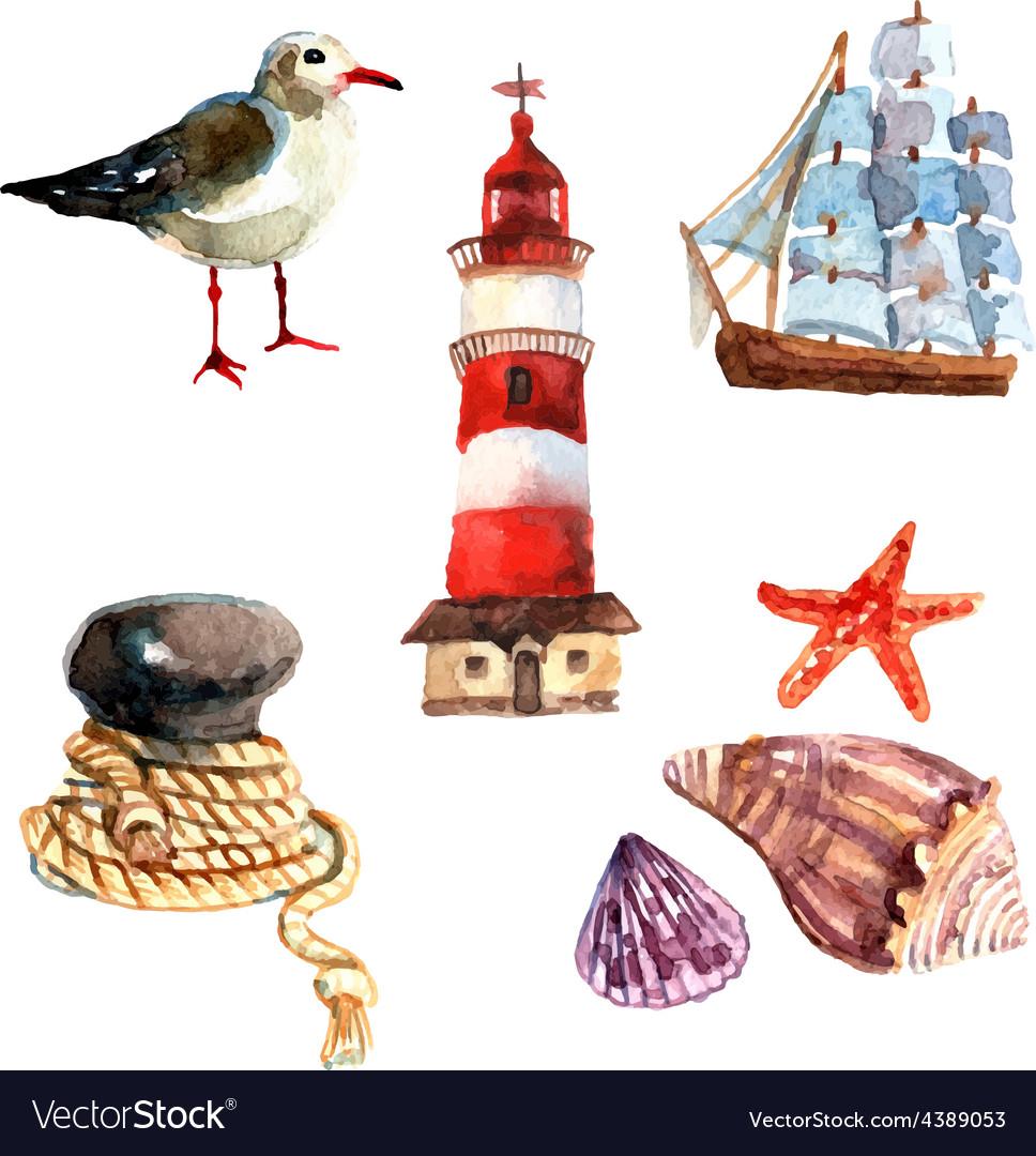 Watercolor Nautical Set vector image