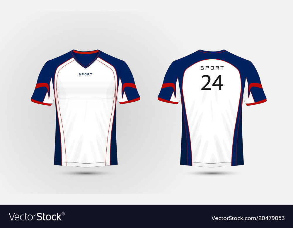 White Blue And Red Pattern Sport Football Kits Vector Image