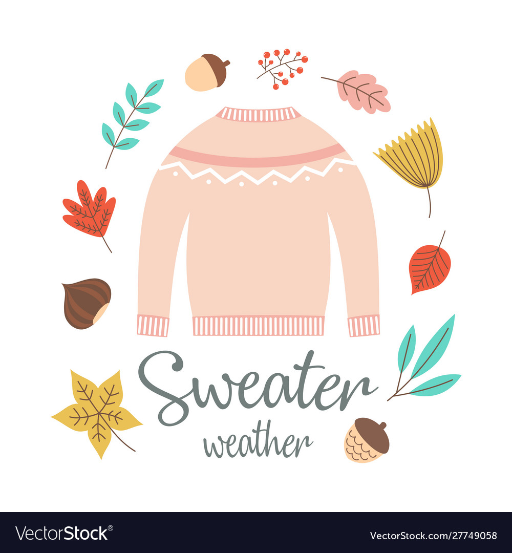 Autumn greeting card with sweater
