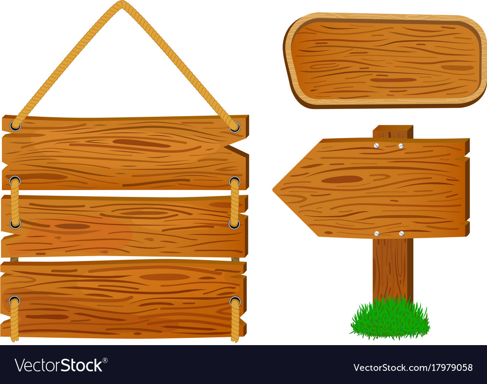 Cartoon Wooden Sign And Banners Rustic Vector Image