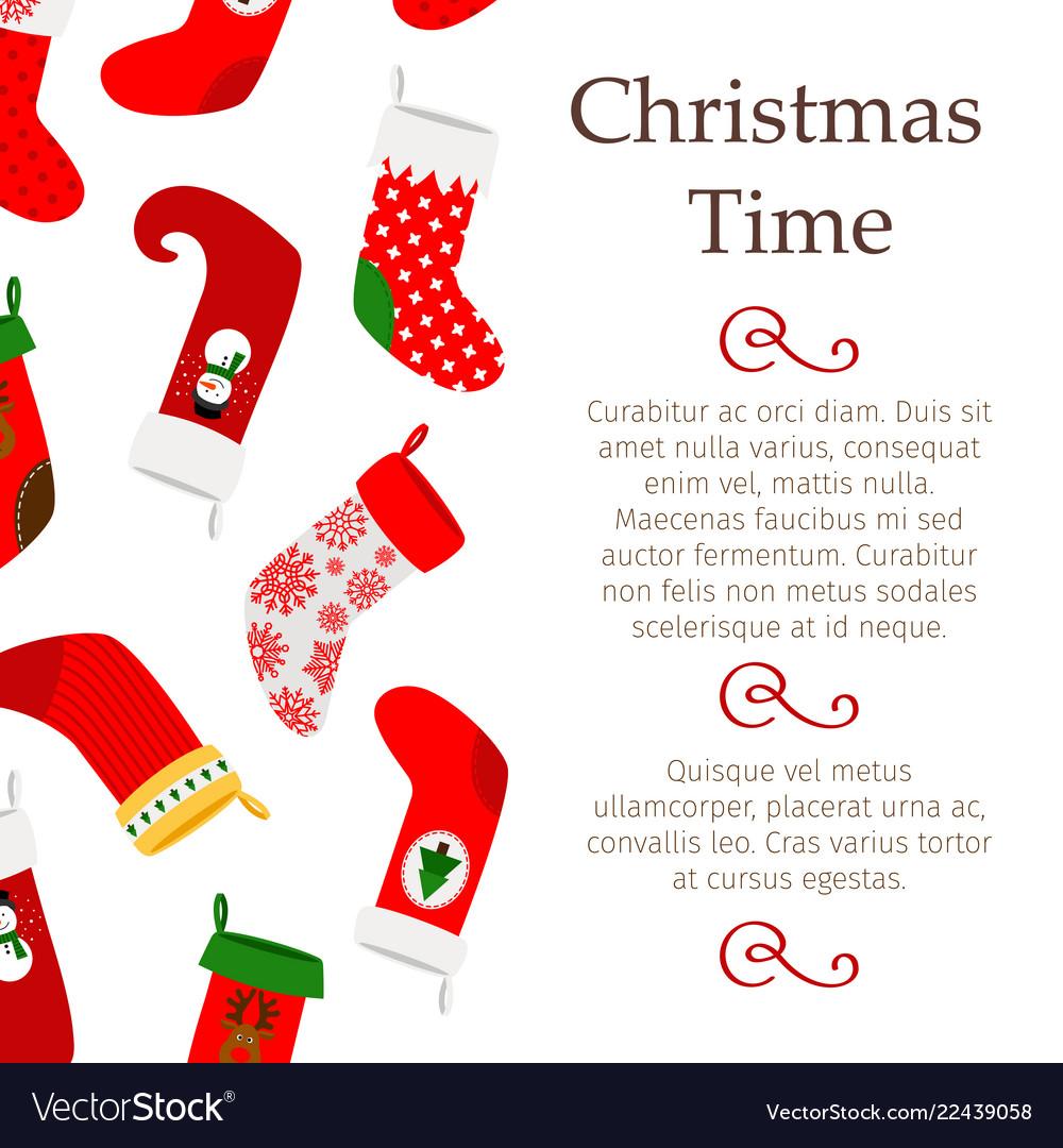 Christmas banner with decorative socks