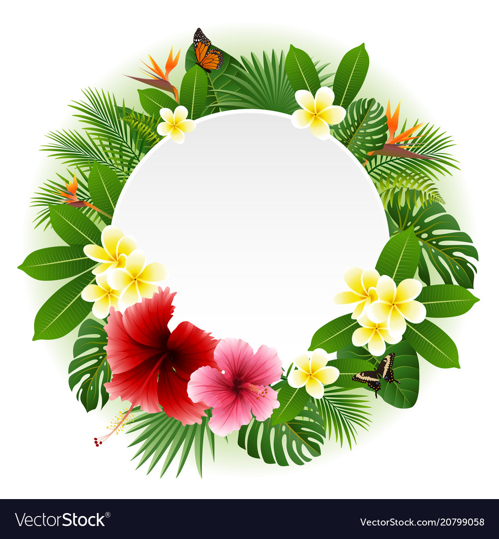 Circle blank sign with flowers leaves background