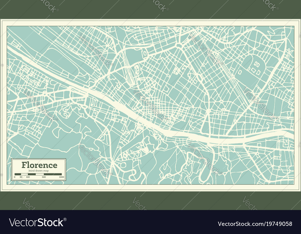 Florence Italy City Map In Retro Style Outline Map