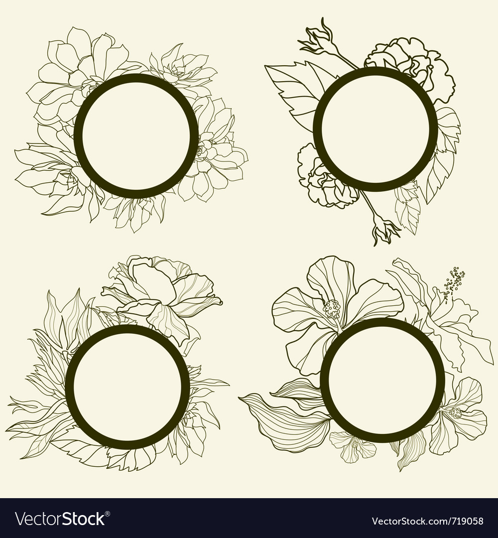 Frames with flowers Royalty Free Vector Image - VectorStock