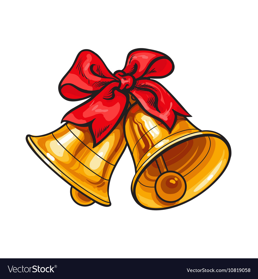 Golden Christmas Bells With A Red Bow Royalty Free Vector