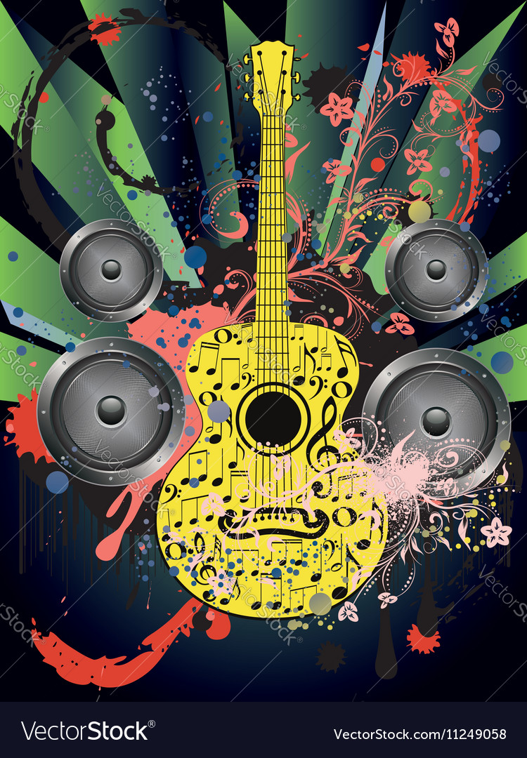 Grunge Guitar and Loudspeakers4 vector image