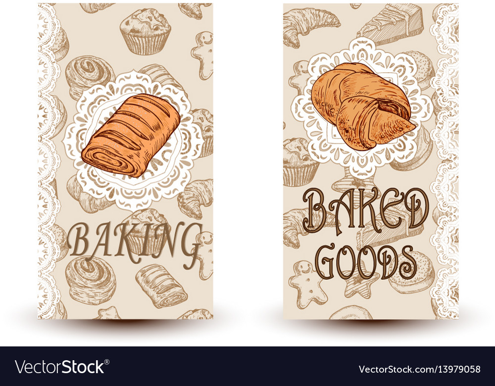 Hand drawn sketch bread posters set eco