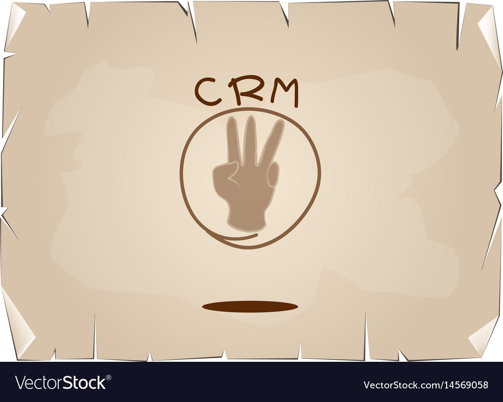 Hand sign with crm or customer relationship manage