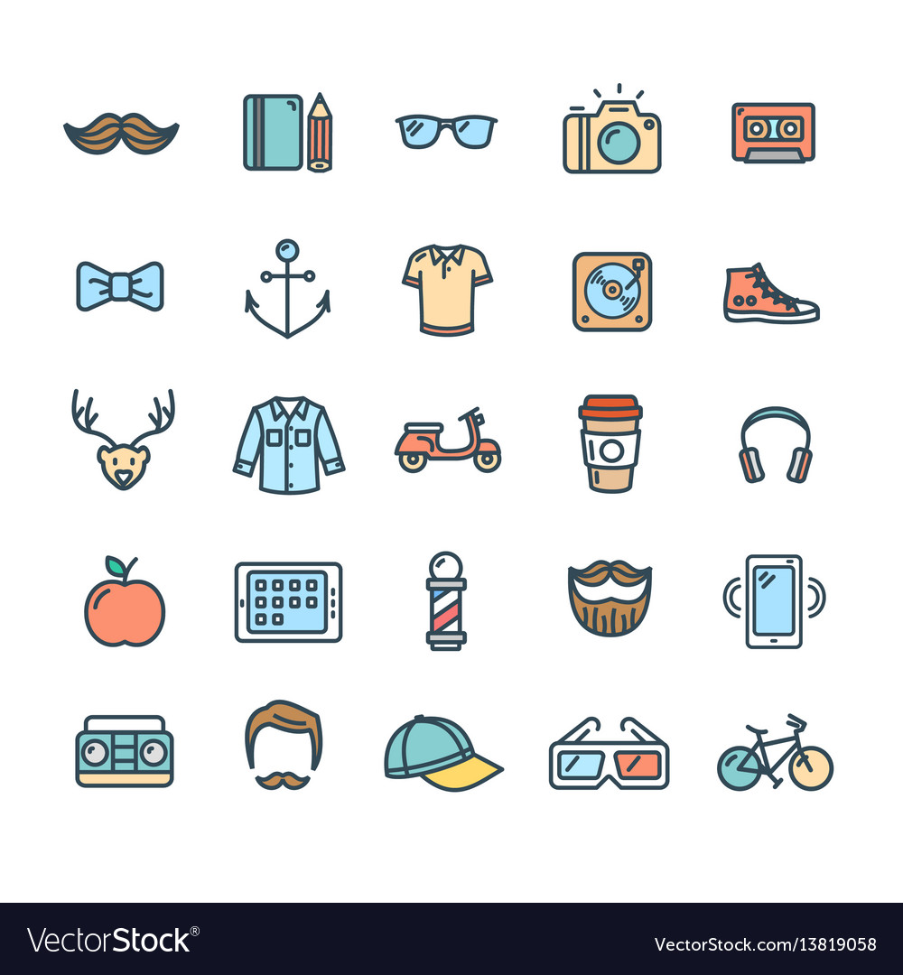 Hipster icon color thin line set